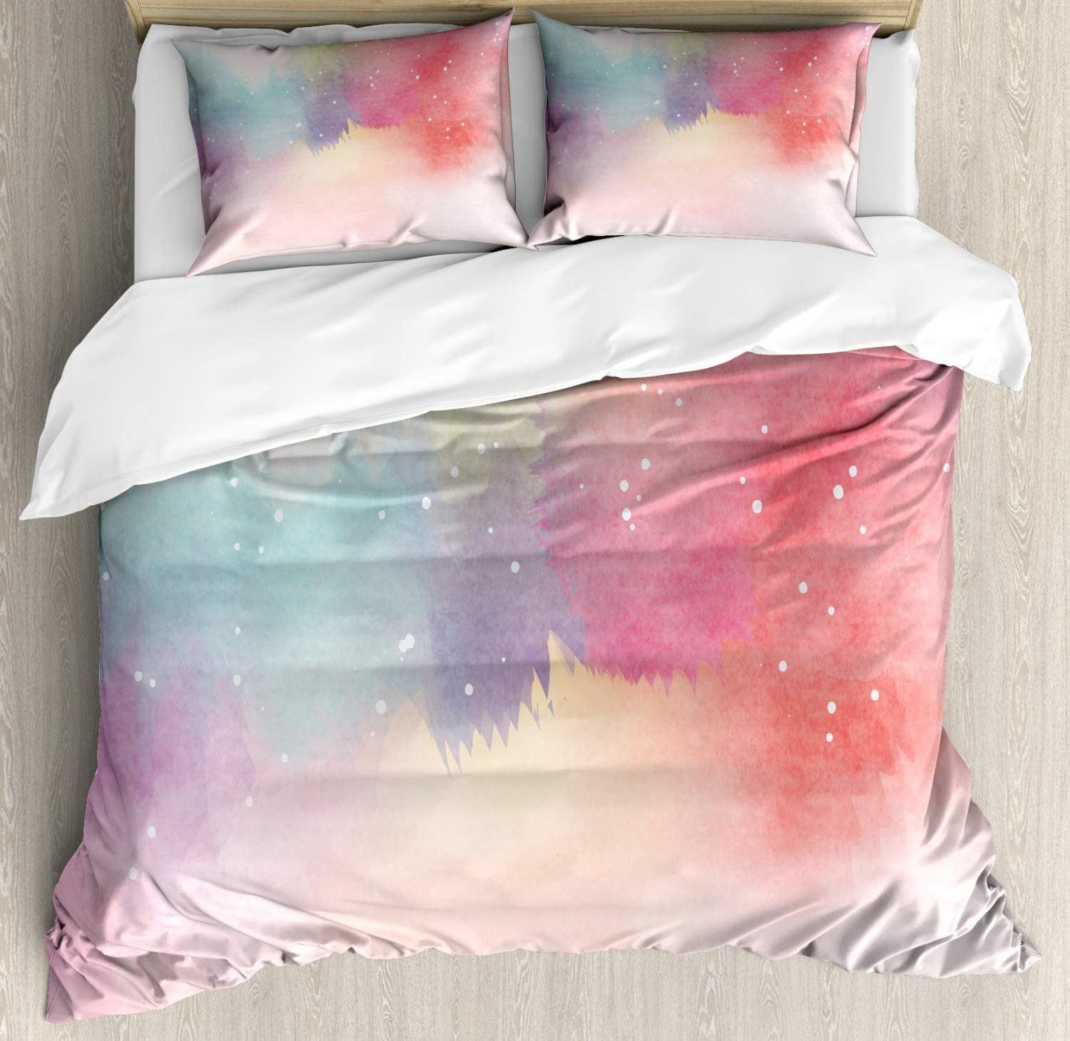 Ambesonne Abstract Duvet Cover Set A Decorative 3 Piece Bedding Set with Pillow Shams Multicolor Watercolor Galaxy Outer Space Star Dust Seemed Image in Vivid Colors Modern Print Theme Queen//Full