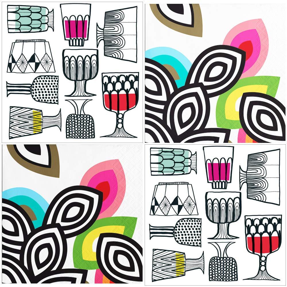 Retro Mid Century Modern Cocktail Napkins - Total of 80 Paper Beverage Party Napkins