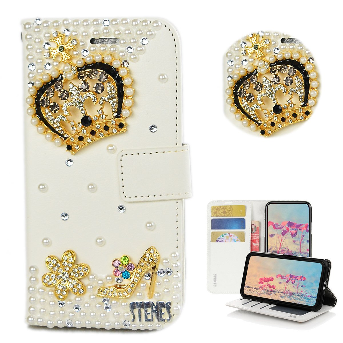 STENES Galaxy S9 Plus Case - Stylish - 3D Handmade Bling Crystal Crown Girls High Heel Flowers Design Wallet Credit Card Slots Fold Stand Leather Cover for Samsung Galaxy S9 Plus - Gold