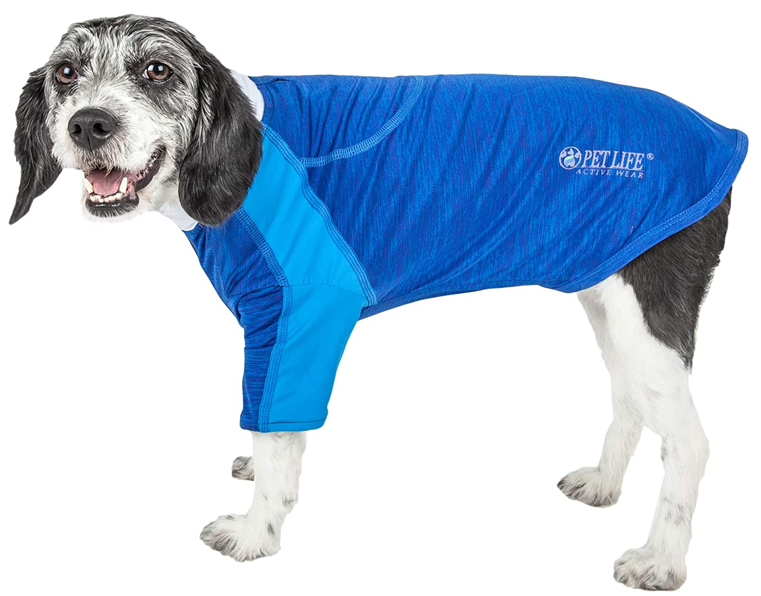 bluee X-small bluee X-small Pet Life 'Chewitt Wagassy' 4-Way Stretch Performance Long Sleeve Dog T-Shirt, X-Small, bluee