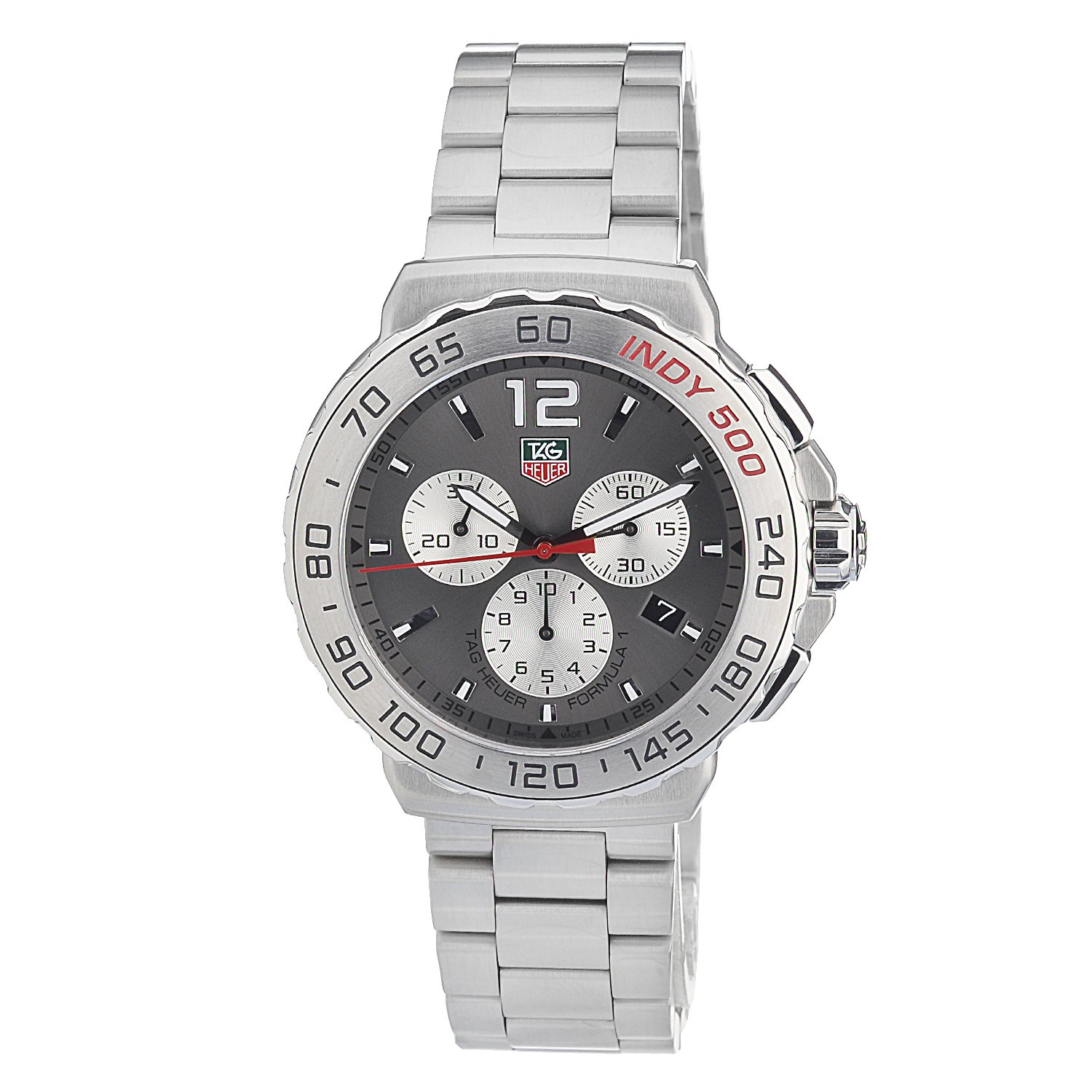 Tag Heuer Men s Cau1113.Ba0858 Quartz Chronograph Grey-Dial Stainless Steel Watch