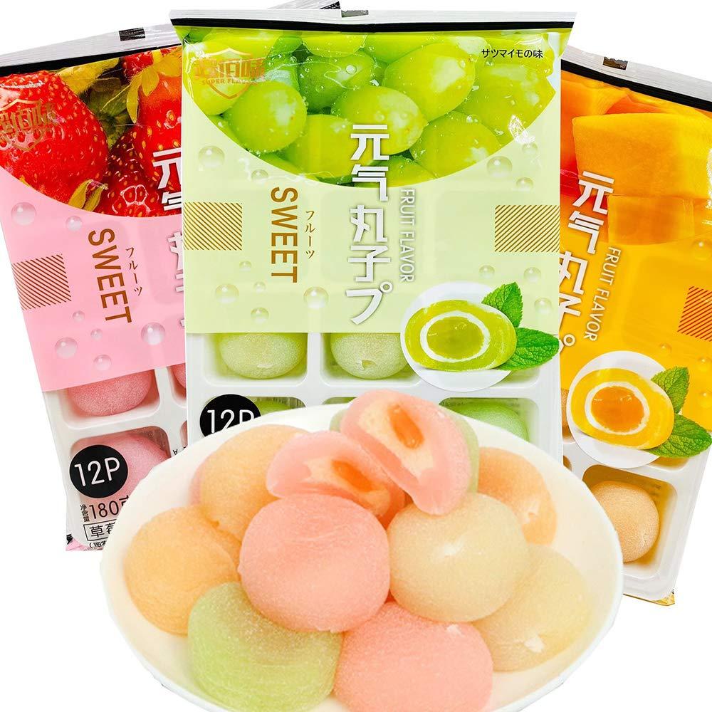 Japanese Fruit Flavor Mochi, Strawberry Mango & Grape Daifuku, Candy Dessert Rice Cake, Delicious Unburdened Snacks, Friendly for Lose Weight, Value 6.34oz/pk (Pack of 3) (540)