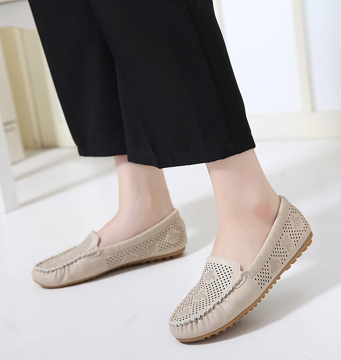 Jiu du Womens Fashion Round Toe Flats Comfortable Breathable Summer Loafer Shoes