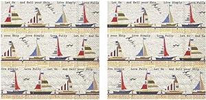 Motivational Sailboat Regatta 3-Ply Paper Cocktail Napkins 40-Count, Nautical Barware Beverage Serviettes, Ahoy Stripe