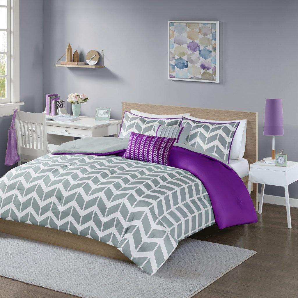 Intelligent Design Nadia Full/Queen Size Bed Comforter Set - Purple, Chevron – 5 Pieces Bedding Sets – Ultra Soft Microfiber Bedroom Comforters