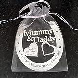 Personalised Mummy & Daddy Wedding Good Luck Horseshoe Gift and Lucky Keepsake by ItemsOfDesire(TM)