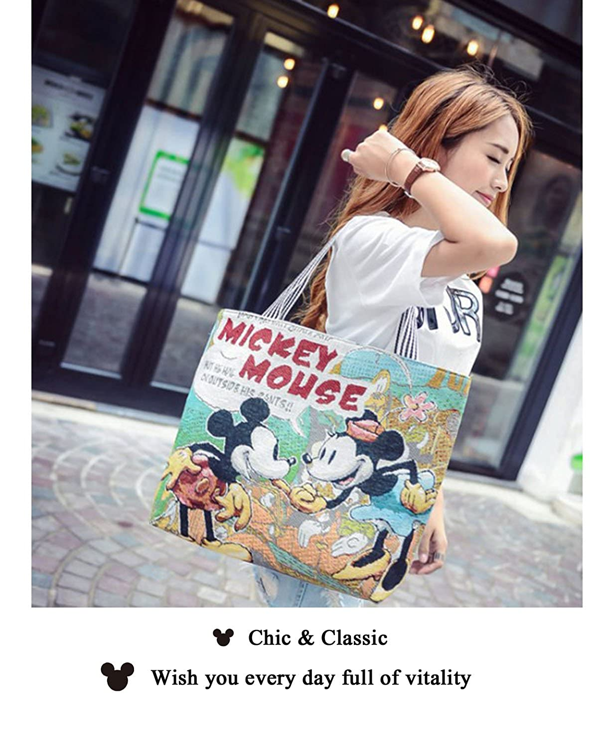 Nappy Changing Disney Mummy Bag Minnie Mickey Mouse Fashion Cute Multi-function Storage Women Bag Wallet Purse Bag For Girls Handheld Bag White