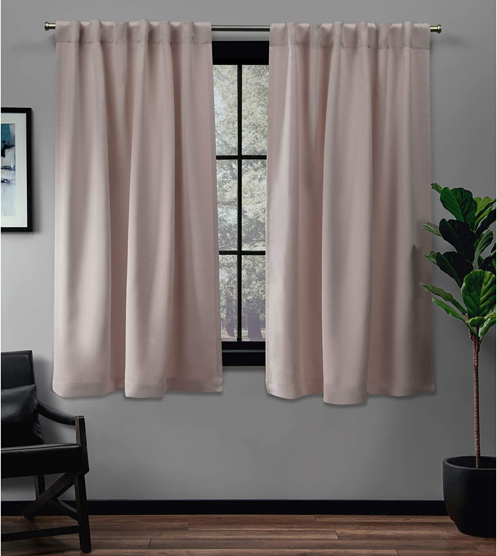 Exclusive Home Curtains Sateen Twill Woven Blackout Hidden Tab Curtain Panel Pair, 52x63, Blush