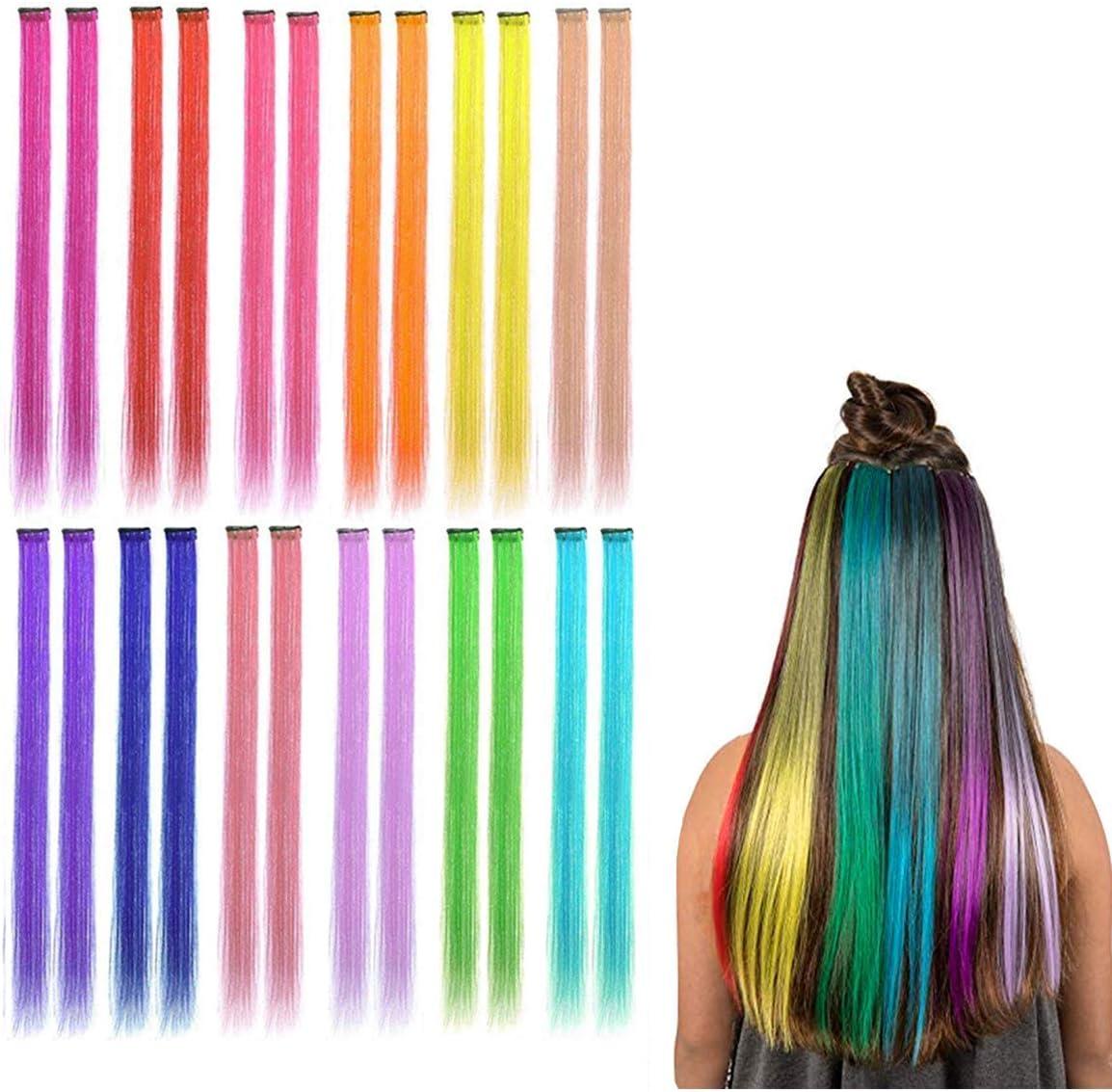 Faneli 12 extensiones de pelo de colores con clips, color arcoíris, recto, sintético, para niñas y niños