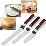 """Icing Spatula, BESTOMZ 3 Offset Cake Spatula Set with Wooden Handle Stainless Steel Cake Decorating Spatulas (5.7""""-7.7""""-9.6"""" Blade)"""