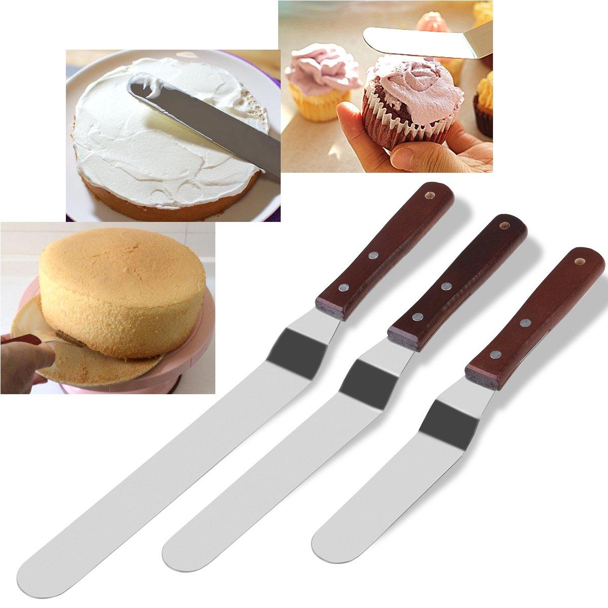 BESTOMZ Winkelpalette Set – 3 Winkelpaletten Streich-Palette Edelstahl mit Holzgriff , Streichmesser, Tortenmesser, Glasurmesser, Icing Spatula Set