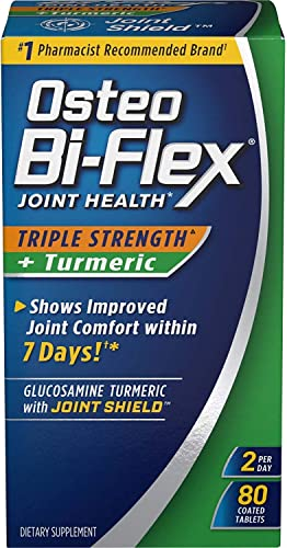 Osteo Bi-Flex Triple Strength Turmeric, 80 Coated Tablets Pack of 2