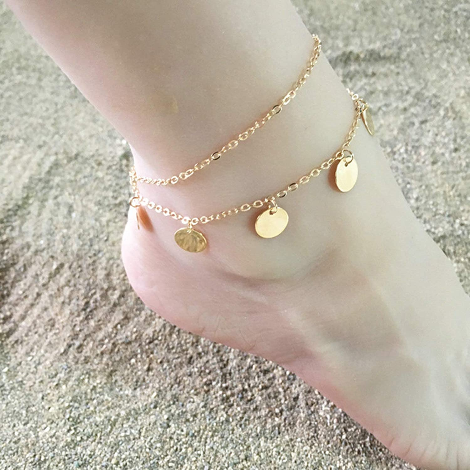 KnSam Beach Anklet Bracelet Chain for Women Alloy Double Layers Polished Disc Anklet for Girls
