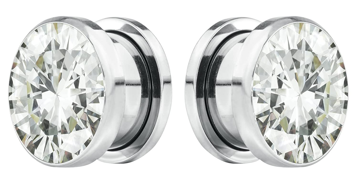Sold as Pair 601982268572 Forbidden Body Jewelry 8G-7//8 Surgical Steel Screw Fit CZ Center Tunnel Plug Earrings