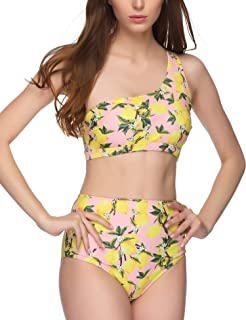 1abdef1a24d38 Verano Playa Women Bathing Suit Tropical Plant Floral Printed One Shoulder  Top with High Waisted Bottom