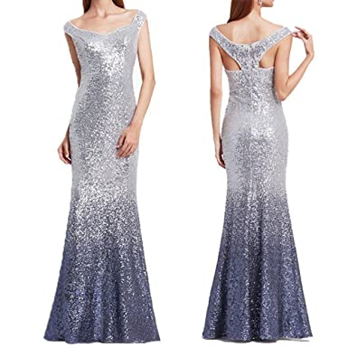Shushaliying Womens 2018 Sexy Sequin Mermaid Cocktail Gown Charming Sleeveless Long Prom Dress Evening Dress Blue