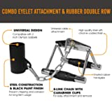 Yes4All Combo Eyelet Landmine Attachment with Chain and Double D Handle/Double D Grip - Fits 2 inch Olympic Bars & Easy Adjustments