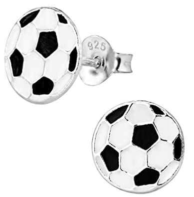 Balón de fútbol de plata esterlina hipoalergénico Stud Pendientes ...