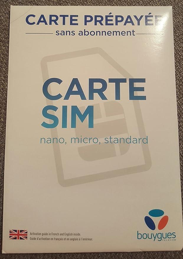 CARTE SIM BOUYGUES TELECOM Carte prépayée sans engagement Ligne valable 1 an !