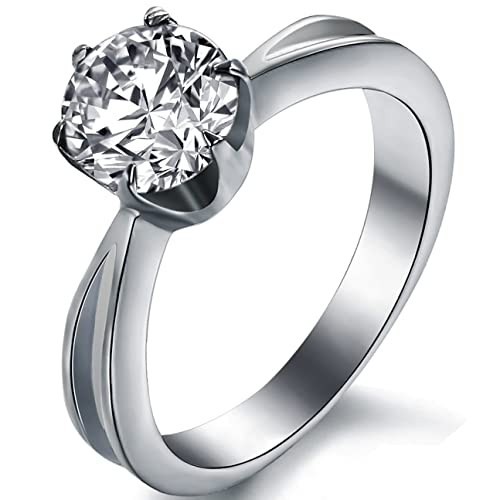 JewelryWe de acero inoxidable anillo solitario con 8,6 mm circonios compromiso de matrimonio anillos redondo tamaño 51 hasta 59: Amazon.es: Joyería