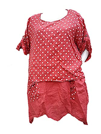 plus récent 8132e 75688 Fashionfolie - Femme Robe Grande taille 46 48 50 52 54 LIN ...