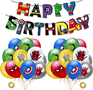 Superhero birthday banners, 24 pcs superhero balloons, superhero birthday party decorations for Kids