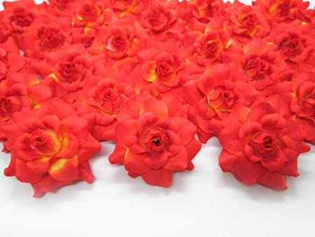 100 Orange Roses Silk Flower Head 1 75 Artificial Flowers