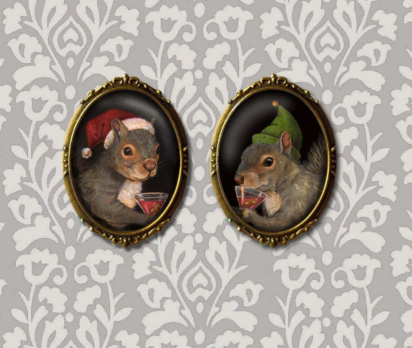 Christmas Squirrel Brooch - Squirrel Pin - Santa Squirrel - Elf Squirrel - Squirrel Lover - Secret Santa Gift - Office Gift - Teacher's Gift - Animal Lover Gift - Funny Squirrels - Cute Squirrels