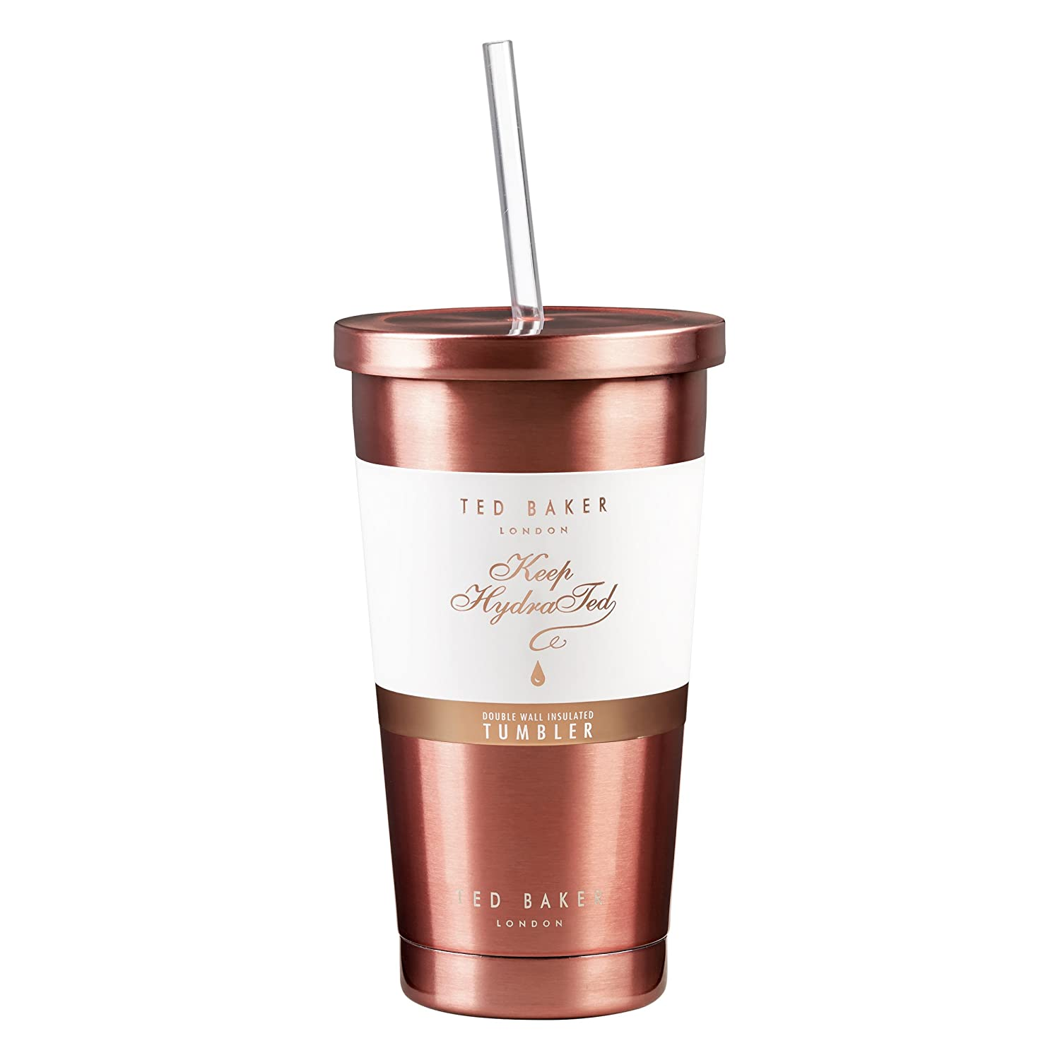 2262b4f83143 Ted Baker | Tumbler and Straw | 480ml | Stainless Steel | Rose Gold |  Double Walled Insulation