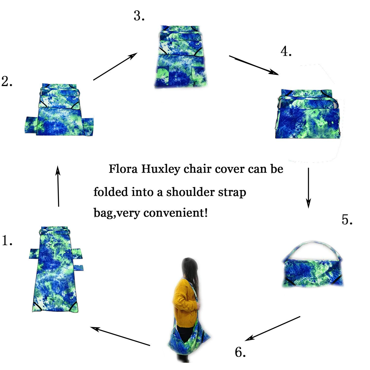 Flora Huxley Tie-dye Beach Chair Cover, Lounge Chair Towel Cover with Side Pockets,Purple