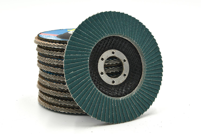 NOVOABRASIVE INOX Fächerschleifscheibe 115mm x 22,23mm T29, Körnung 120 (Set 10 Stück) für Schleifen von Stahl und Holz für Winkelschleifer.