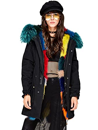 8972b75759f Melody Women s Luxurious Real Fox Fur Liner Parka Raccoon Fur Collar Hooded  Coat Thick Winter Long Jacket