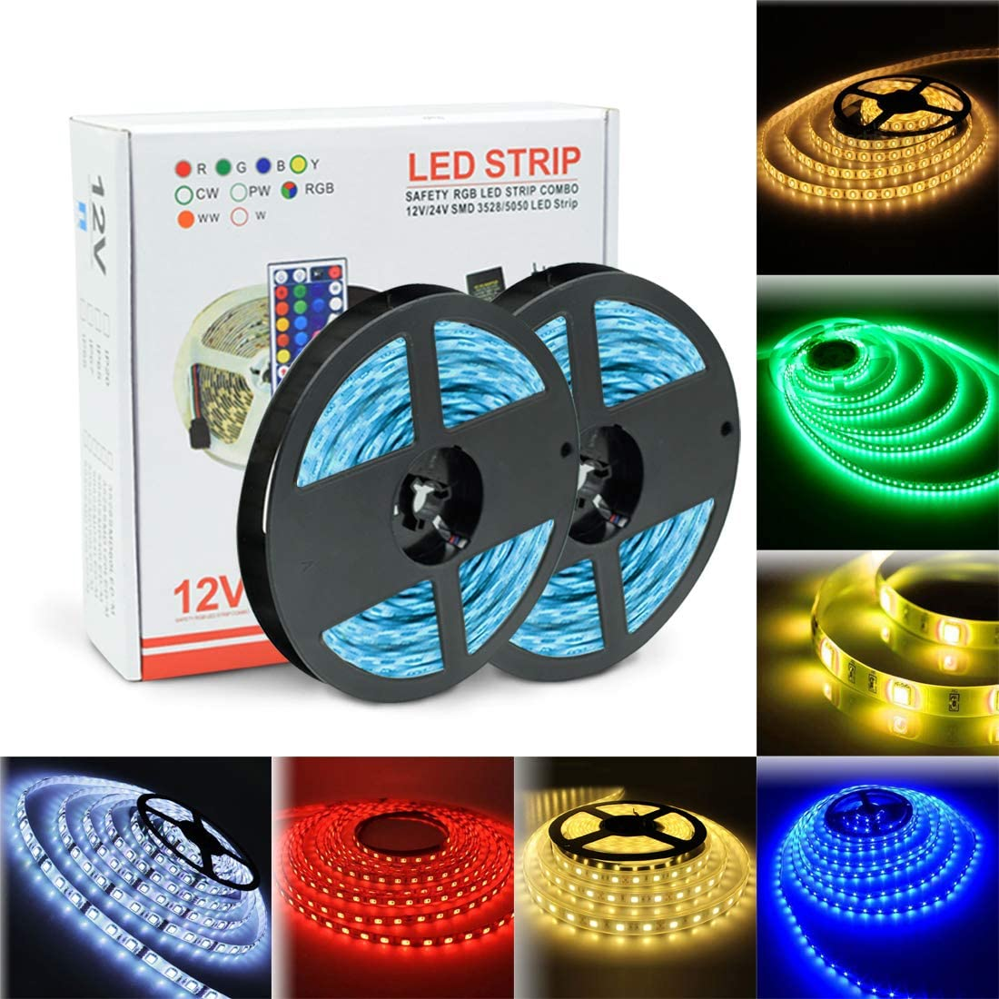LED Strip Lights 32.8ft, RGB Colored Rope Light Strip, Flexible LED Tape Light for Bedroom Home and Holiday Decoration,Strong 3M Adhesive Cutting Design
