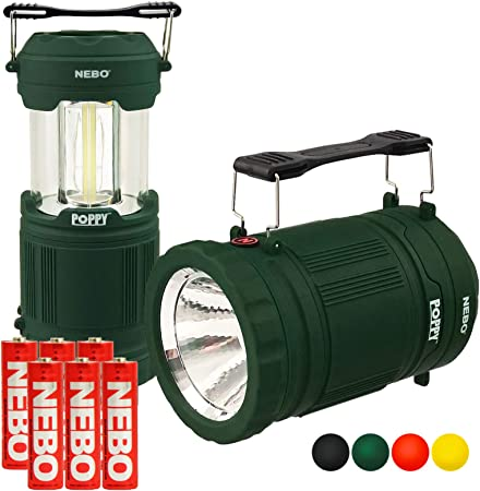 Red//Yellow 2 Pack Nebo Poppy 6555 Combination LED 300 Lumen Lantern and 120 Lumen Spot Light w// EdisonBright battery case