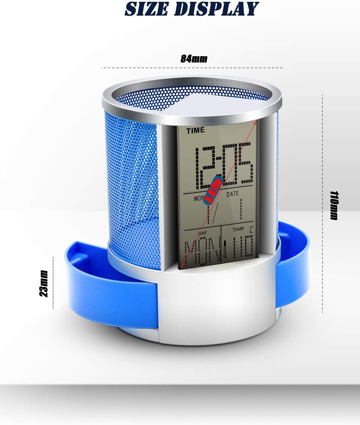 astuccio in metallo calendario sveglia digitale LCD da scrivania con sveglia e righello in rete blu nero Blu organizer da tavolo timer e termometro Portapenne multifunzione orologio