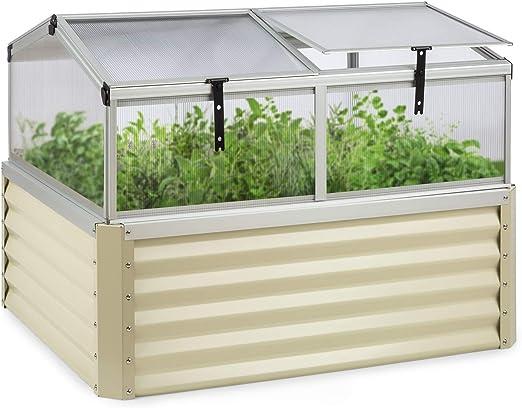 blumfeldt High Grow Advanced - Arriate Alto con Techo, Mini Invernadero, Volumen de 540 L, Protección Plaga Caracoles, Techo inclinable, Protección UV, Antioxidante, Acero galvanizado, Beige: Amazon.es: Jardín