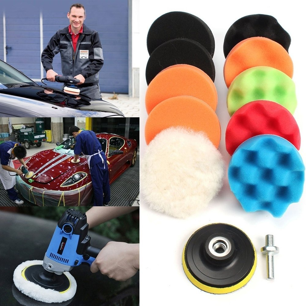 11Pcs 3//5//6//7 Waffle Buffer Compound Waxing Polishing Wheel Tool Sponge Pad Drill Adapter Kit Set for Auto Car Polisher Cleaning Vehicle Wash