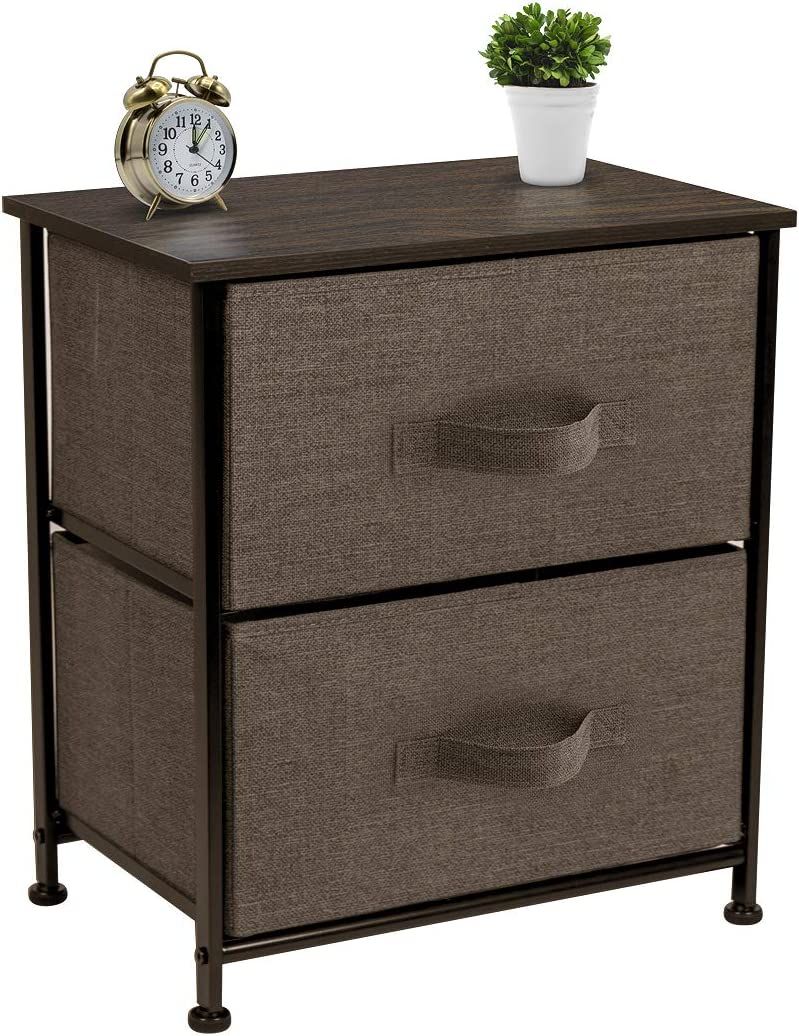 Sorbus Nightstand with 2 Drawers - Bedside Furniture & Accent End Table Chest for Home, Bedroom Accessories, Office, College Dorm, Steel Frame, Wood Top, Easy Pull Fabric Bins (Brown)