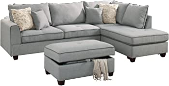 Poundex 3 Piece Sectional Rianne Light Blue Living Room Set