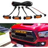 Seven Sparta Led Lights 4 PCS with Fuse for 2016-2018 Aftermarket Toyota Tacoma TRD PRO Grille (Amber Shell with Amber…