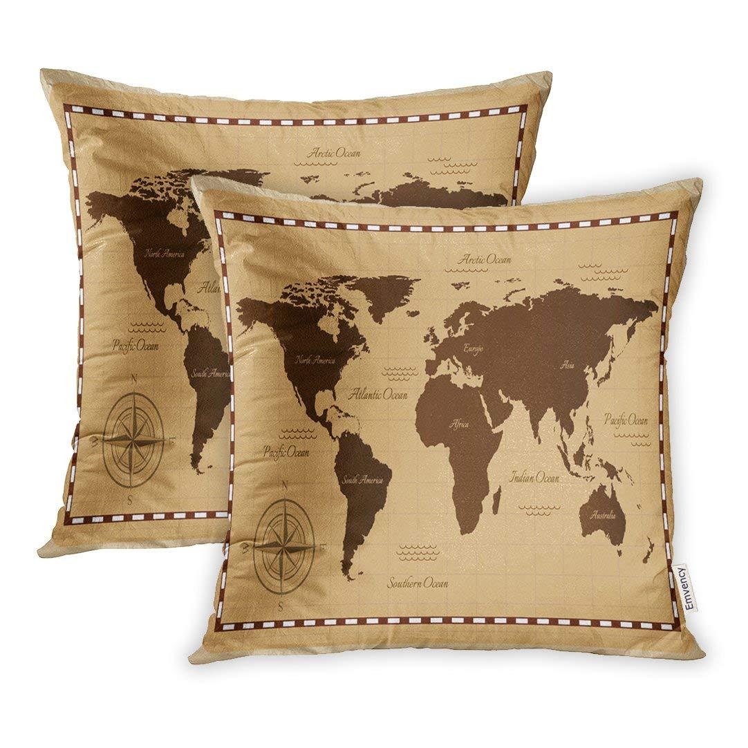Amazon.com: Emvency Set of 2 Brown Vintage Old World Map ...