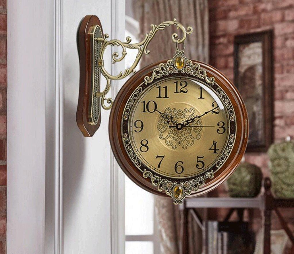 TXXM アメリカのソリッドウッド金属両面壁時計ミュートのヨーロッパのリビングルームテーブルウォールクロッククォーツ時計クォーツ時計の両側に (色 : C, サイズ さいず : 14 inches) B07F9VVN1N 14 inches|C C 14 inches