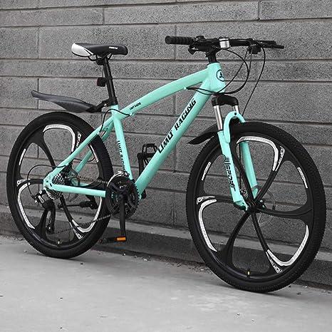 Adulto Bicicleta de montaña, Playa de Bicicletas, Bicicletas de Doble Freno de Disco Off-Road de Nieve, 26 Pulgadas de aleación de magnesio Seis Cuchillos Integrado Ruedas,Verde,21 Speed: Amazon.es: Deportes y aire libre