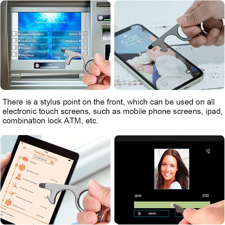 2 St/ück kontaktloser T/ür/öffner ,hygienehaken,ber/ührungsloses T/ür/öffnungswerkzeug f/ür verschiedene Touchscreen-Tasten,lKeychain Tool