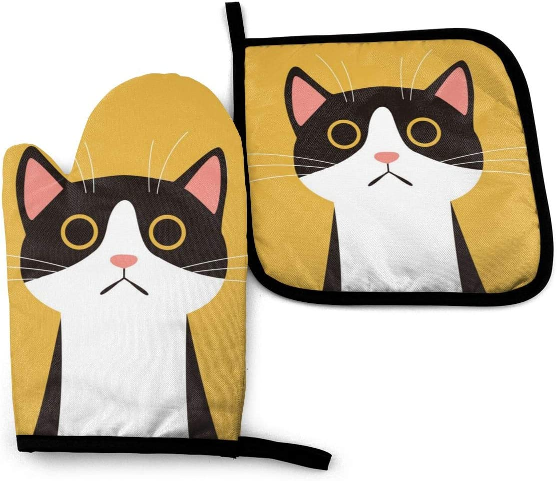 Cute Cat Yellow Oven Mitts and Pot Holders Sets, 3D Customization, Durable Gloves with Hanging Loop Heat Resistant to Protect Hands and Surfaces, for Handling Hot Cookware,Easy to Clean