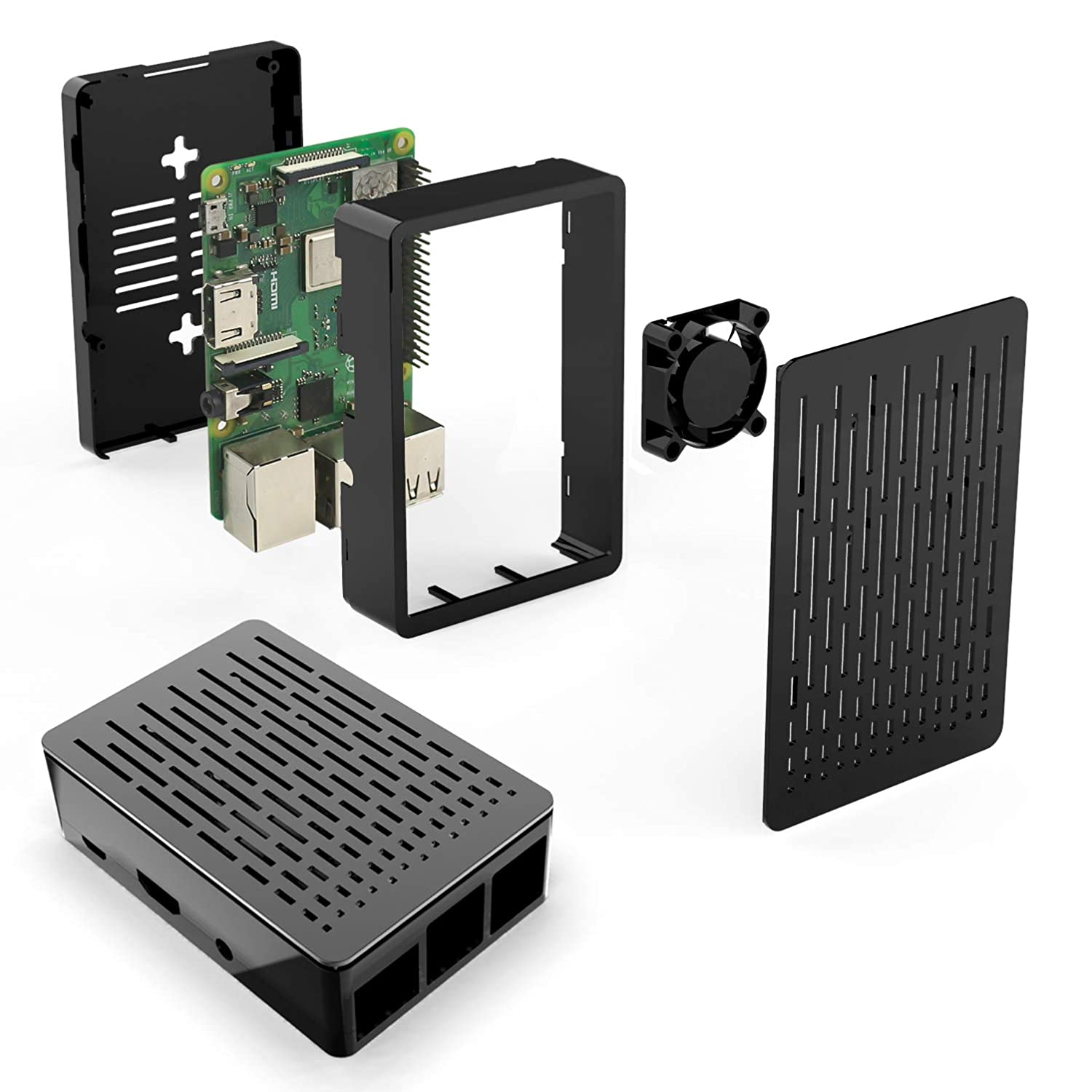 Compatible 3.5 inch Screen Enclosed Case for Raspberry Pi 3 B Case with Cooling Fan 3pcs Heat-Sinks