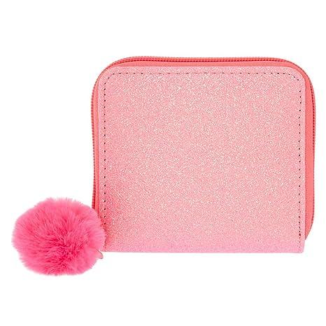 Claires - Cartera con cremallera para niña con diseño de gato con purpurina, color rosa