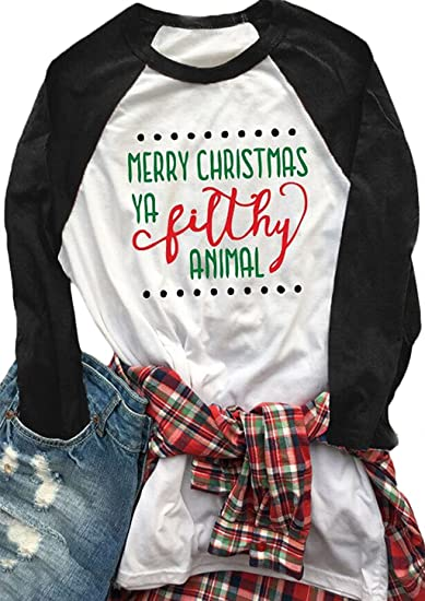 14fc24ee Amazon.com: Women's Merry Christmas Ya Filthy Animal Letters Print T-Shirt  Raglan Sleeve Blouse Tees: Clothing