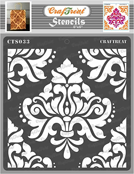 Paper Size: A4 Brocade Reusable DIY Art and Craft Stencils Wall and Tile CrafTreat Brocade Mandala Stencils for painting on Wood Canvas Floor Fabric Brocade Stencil