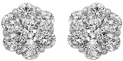 246d13e6b2cd9 Olivia Paris 14k White Gold Certified 1 Carat ctw Diamond Flower Cluster  Stud Earrings (HI, SI2-I1)